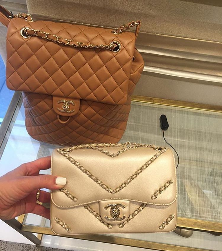 Chanel Chevron Chained Flap Bag