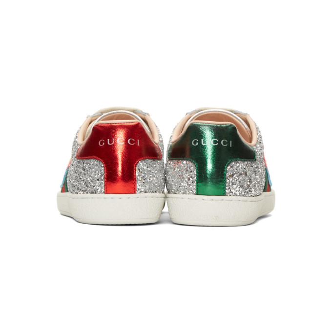 Gucci Silver Glitter Planet New Ace Sneakers Popular