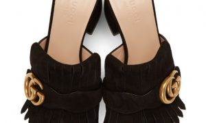 Gucci - Black Suede GG Marmont Fringed Mules