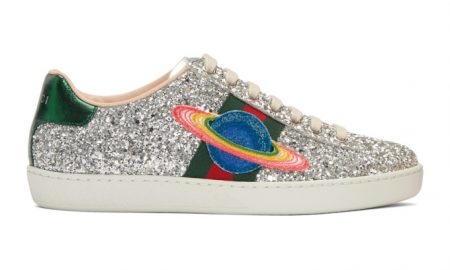 Gucci - Silver Glitter Planet New Ace Sneakers