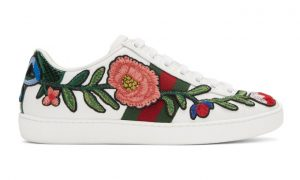 Gucci - White Floral Ace Sneakers